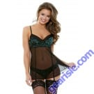 Halle Lace Babydoll Garters Matching Panty Tease B226