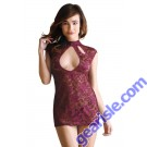 Madeline Lace Dress Cutout Neckline Panty Tease B418