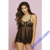 Floral Embroidered Mesh Babydoll Set 10730 Seven' til Midnight