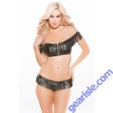 Faux Leather Off-Shoulder Top G-String Set Naughty 12-4005