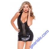 Wet Look Faux Leather Dress Kitten-Boxed 17-3042K