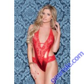 Glitter 35024 Red Metallic And Lace Microfiber Teddy Lingerie