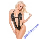 Faux Leather Deep V-Neck Teddy Naughty 4-5005