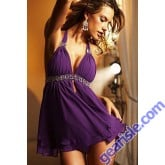Sheer Purple Babydoll 2 Piece Night Panty Nightie 5157 Lingerie