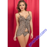 Wild Fashion Backless Straps Leopard Animal Print 5345 Babydoll