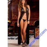 Black Sheer Lace Evening Gown Set 5566 Robe