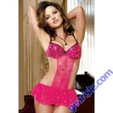 Hot Pink Sexy Lady Backless Babydoll Transparent 5631 Lingerie