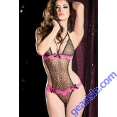 Sexy Purrfect Temptress Leopard Teddy Lingerie Set with G-string
