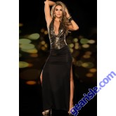 Deep Plunging Metallic Gown Long Party Dress Black/Gold 5951