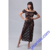 Vx Intimates Romantic Stretch Lace Long Dress With Sleeves Lingerie