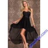 Strapless Short Front Long Back Cocktail Dress Sequined 6604 Style