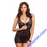 Dreamgirl 7247X Stretch Lace Chemise Front Zipper Matching Thong