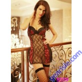 Sexy Baby Doll Black/ Red Lace Costume 8559