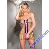 Multi Color Stripes Fishnet Halter Chemise Lace Up Front 90302 Shirley