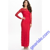 Long Sleeve Red Lace Maxi Backless Party  Dress 9262 Lingerie
