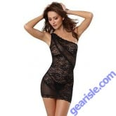 Dreamgirl 9680 Sultry Stretch Lace Asymmetrical Chemise Thong