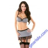 Eyelash Lace Trim Bra Gartered Skirt G-string Set Tease B168