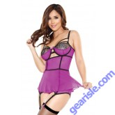 Skirted Bustier Set Detachable Garters G-string Tease B455