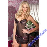 Black Lace Hot Pink Ribbon Chemise BeWicked Lingerie 1323 Style