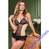 Black Mesh Sexy Crotchless Teddy For Women 1373 By Be Wicked Lingerie