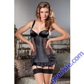 Women's Black Satin And Mesh Cami Suspender 1377 Be Wicked