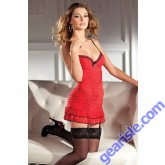 Ruched Body Red Chemise Lingerie 1379 By Be Wicked