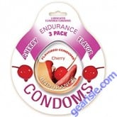 Endurance 3 Pack of Flavored Lubricated Condoms in Cherry