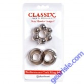 Pipedream Classix Back To The Basics Performance Cock Ring Set Smoke