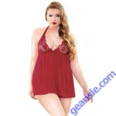 Valerie Pleated Halter Lace Cup Babydoll Matching G-String Curve P205