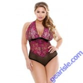 Sherry Two Tone Lace Halter Teddy Curve P224