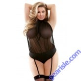 Raquel Sheer Halter Playsuit Detachable Garters Curve P508