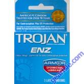 Trojan ENZ Premium Spermicidal Lubricated Condom Blue 3 Condoms