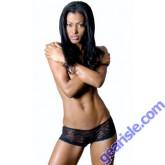 Stretch Lace Open Crotch Boyshort Lace-Up Back Lingerie 8045 Vx Intimate