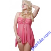 Black And Pink Lace Up Front Babydoll Lingerie 5174 Vx Intimate