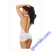 White T-Back Chemise and Thong Lingerie 9742 Dreamgirl