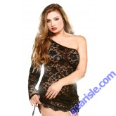One Shoulder Lace Dress Adjustable Side Matching Thong Curve P102