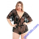 Stretch Lace Romper Adjustable Waist Snap Closure Curve P184