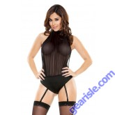 Sheer Mesh Halter Teddy Detachable Garters Snap Closure Romp R508