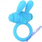Neon Rabbit Ring Vibrating Blue Silicone Pipedream