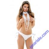 Antoinette  Pearl Choker Lace Side Tie Panty Set Risque Q162