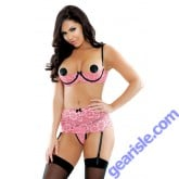Amour Stretch Lace Shelf Bra Garter Crotchless Risque Q163