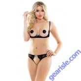 Elixir Lace Underwire Bra Open Panel Panty Pasties Risque Q164