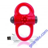 Charged Vooom Yoga Double Vibrating Cock Ring Red ScreamingO