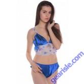 Style 7025 Women's Blue Floral Print Short Pajama Set