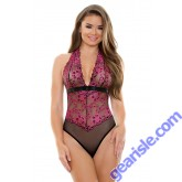 Sherry Two Tone Lace Halter Teddy Tease B224