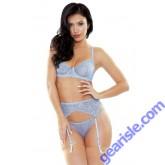 Cindy Sparkle Lace Bra Garter Belt G-string Set Tease B467