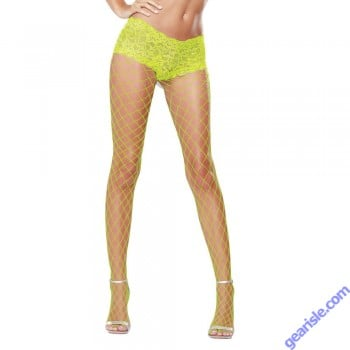Dreamgirl 0029N Fence Net Pantyhose Wih Attached Lace Short Top