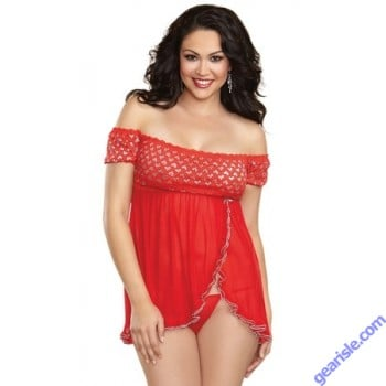 Dreamgirl 10060X Queen French Kiss Babydoll Red