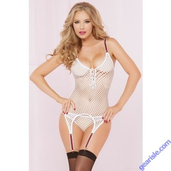 Fishnet Cami Set Garters White 10580P Seven' til Midnight