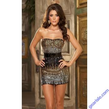 Gold Sequin Strapless Mini Dress Unique Ombre Sequin Strapless Dress 2332